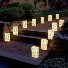 LumaBase 12-pk. Stars Flameless Tealight Candle Luminarias - Indoor and Outdoor