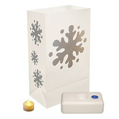 LumaBase 12-pk. Snowflake Flameless Tealight Candle Luminarias - Indoor & Outdoor