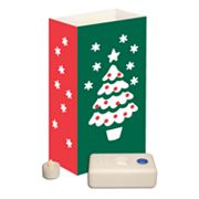LumaBase Christmas Tree Flameless Tealight Candle Luminaria