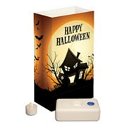LumaBase 4-pk. Happy Halloween Tealight Candle LED Luminarias with Water-Filled Bases