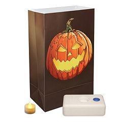 LumaBase 12-pk. Jack-o'-Lantern Flameless Tealight Candle Luminarias - Indoor & Outdoor