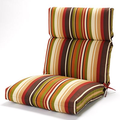 Croft and Barrow Red Stripe Outdoor Seat and Back Chair Cushion