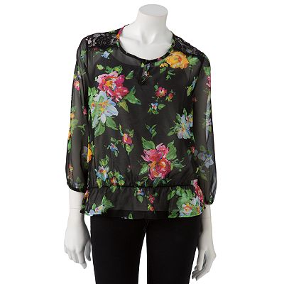 Lily Rose Floral Chiffon Top - Juniors