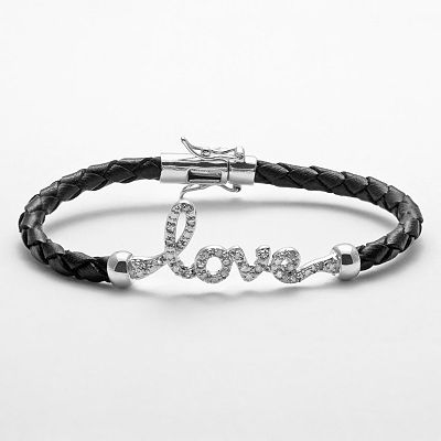 Sterling Silver and Black Leather 1/4-ct. T.W. Diamond Love Bracelet