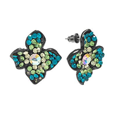 Candie's Jet Simulated Crystal Floral Button Stud Earrings