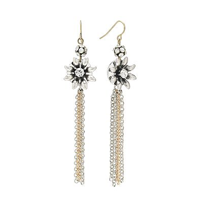 Mudd Two Tone Simulated Crystal Flower Fringe Drop Earrings