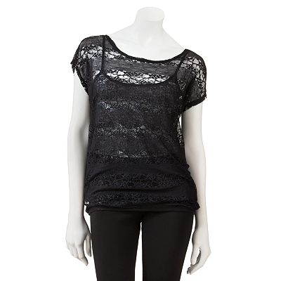 Eyelash Lace Mock-Layer Top - Juniors