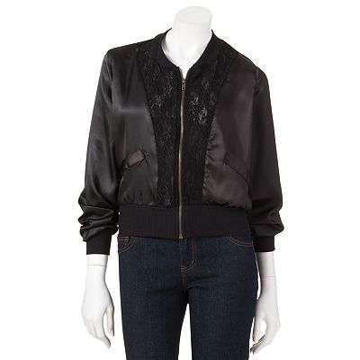 About A Girl Lace Bomber Jacket - Juniors