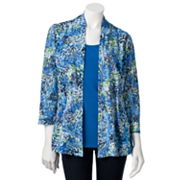 Sag Harbor Floral Burnout Cardigan Set