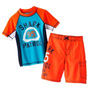 OshKosh B'gosh Shark Patrol Rash Guard and Swim Trunks Set - Boys 4-7
