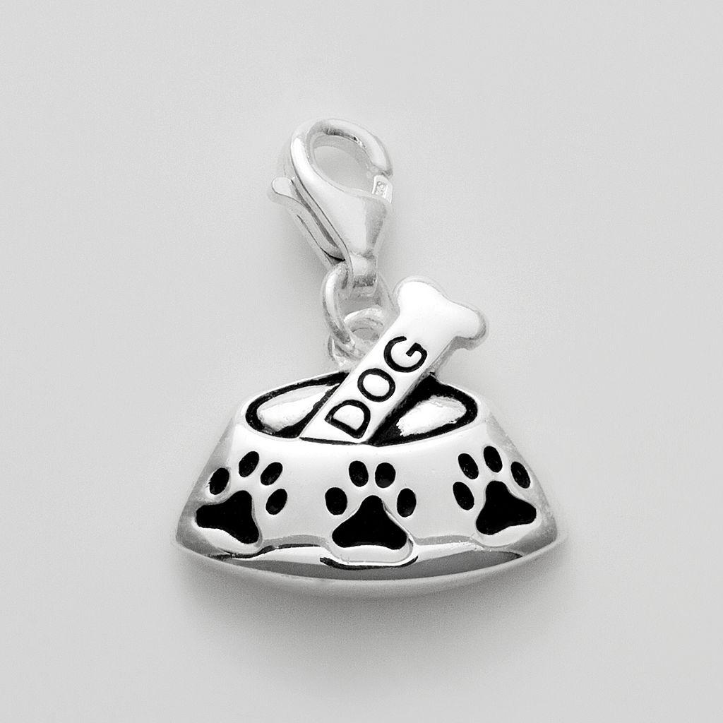 Personal Charm Sterling Silver Dog Bone & Bowl Charm