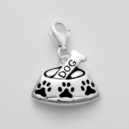 Personal Charm Sterling Silver Dog Bone and Bowl  Charm