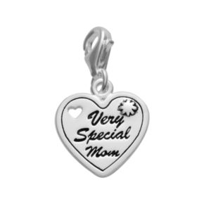 Personal Charm Sterling Silver Very Special Mom Heart Charm