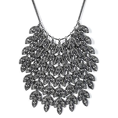 Simply Vera Vera Wang Black Simulated Crystal Leaf Bib Necklace