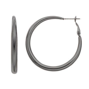 Jet Hoop Earrings