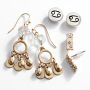 Mudd Two Tone Cancer Chandelier and Stud Earring Set