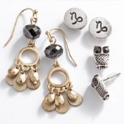 Mudd Two Tone Capricorn Chandelier and Stud Earring Set