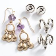 Mudd Two Tone Sagittarius Chandelier and Stud Earring Set