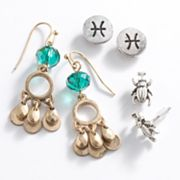 Mudd Two Tone Pisces Chandelier and Stud Earring Set