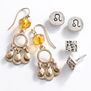Mudd Two Tone Leo Chandelier and Stud Earring Set