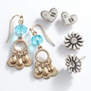 Mudd Two Tone Aquarius Chandelier and Stud Earring Set