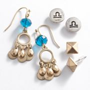Mudd Two Tone Libra Chandelier and Stud Earring Set