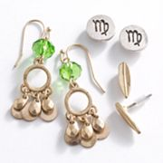 Mudd Two Tone Virgo Chandelier and Stud Earring Set