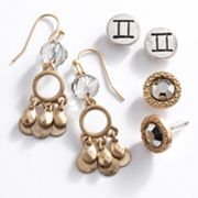 Mudd Two Tone Gemini Chandelier and Stud Earring Set