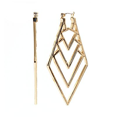 Jennifer Lopez Gold Tone Openwork Kite Earrings