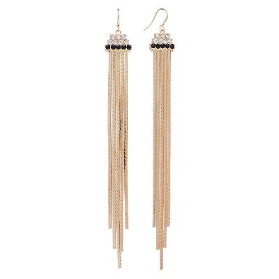 Jennifer Lopez Gold Tone Simulated Crystal Fringe Drop Earrings