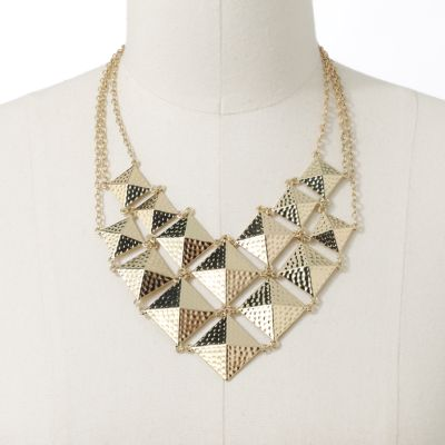 Jennifer Lopez Gold Tone Textured Bib Necklace