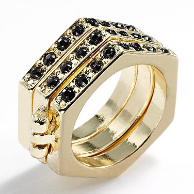 Jennifer Lopez Gold Tone Studded Hexagon Stack Ring Set