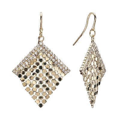 Jennifer Lopez Gold Tone Simulated Crystal Mesh Kite Earrings
