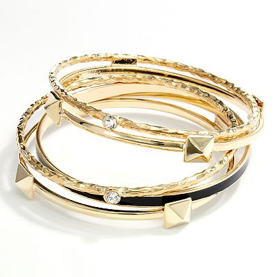 Jennifer Lopez Gold Tone Hammered Pyramid Stud Bangle Bracelet Set