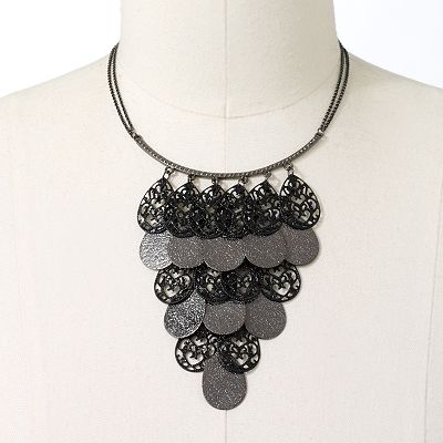 Candie's Jet Teardrop Bib Necklace