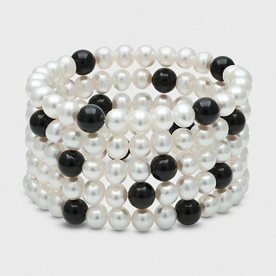 Sterling Silver Freshwater Cultured Pearl and Onyx Multirow Stretch Bracelet
