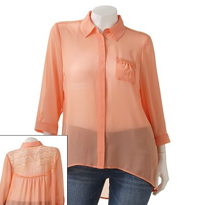 Candie's Chiffon Lace Back Button-Front Top - Juniors' Plus