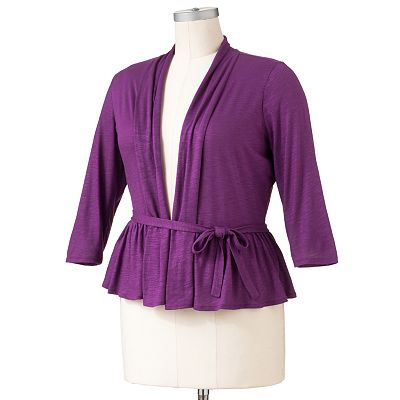 ELLE Slubbed Lurex Cardigan - Women's Plus