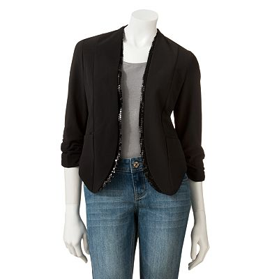 Stooshy Sequin Collarless Blazer