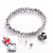 Silver Tone Bead Charm Stretch Bracelet and Crystal Stud Earring Set