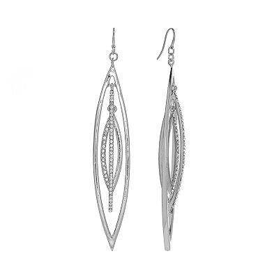 Jennifer Lopez Silver Tone Simulated Crystal Marquise Linear Drop Earrings