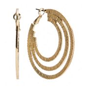 Jennifer Lopez Gold Tone Textured Hoop Earrings