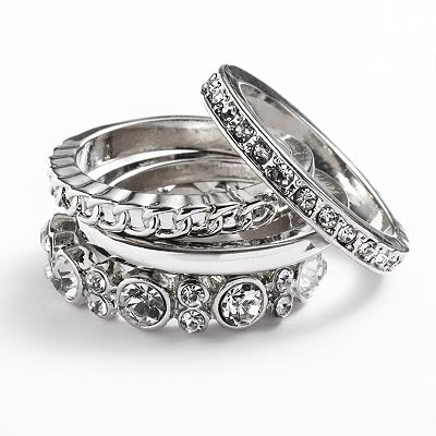 Jennifer Lopez Silver Tone Simulated Crystal Stack Ring Set