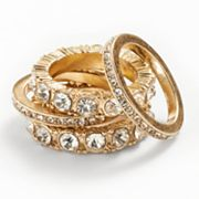 Jennifer Lopez Gold Tone Simulated Crystal Stack Ring Set