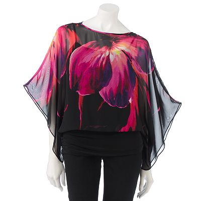 Jennifer Lopez Floral Banded-Bottom Chiffon Top Set - Petite