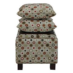Madison Park 3 pc Ottoman & Pillow Set