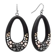 ELLE BIJOUX Jet Simulated Crystal Oval Drop Earrings