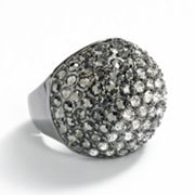 ELLE BIJOUX Jet Simulated Crystal and Studded Dome Stretch Ring