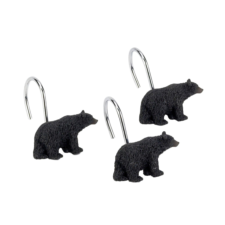 avanti black bear lodge 12pk shower curtain hooks