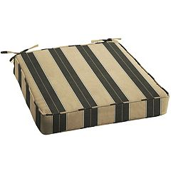 Mozaic Sunbrella 20 in Striped Brown Black Outdoor Chair Cushion
